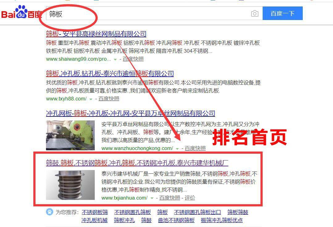 """""""筛板""""行业网站优化首页排名效果"""