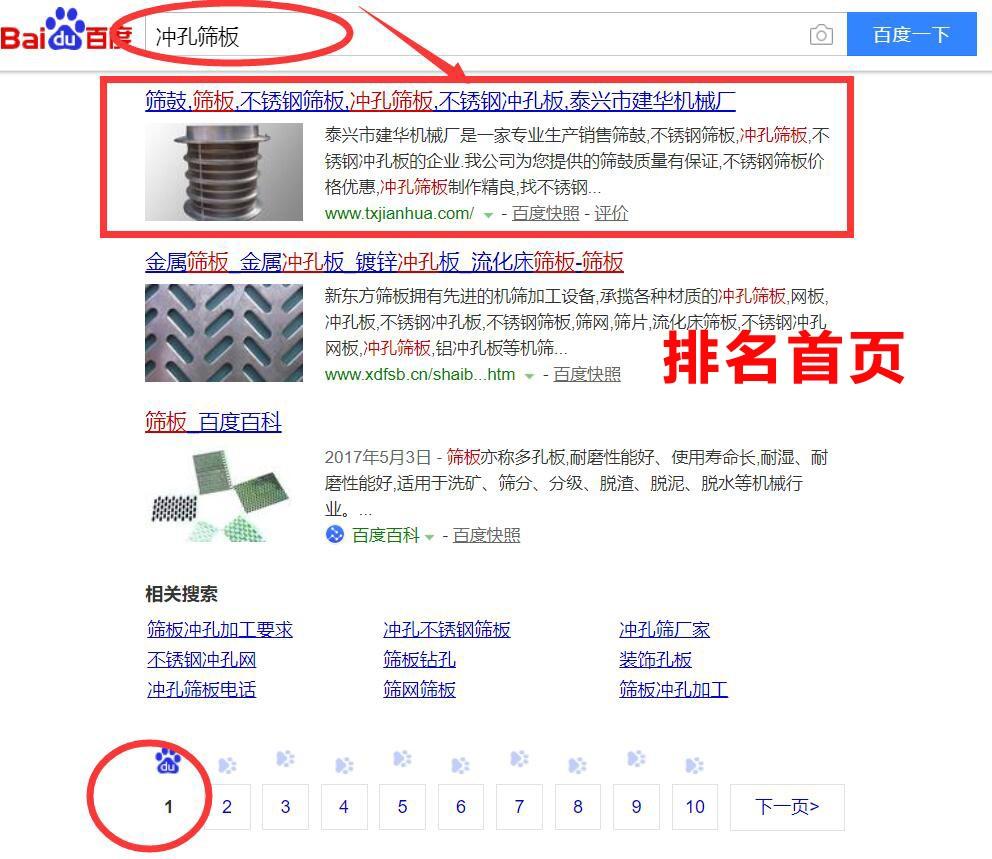筛板行业网站优化首页排名效果